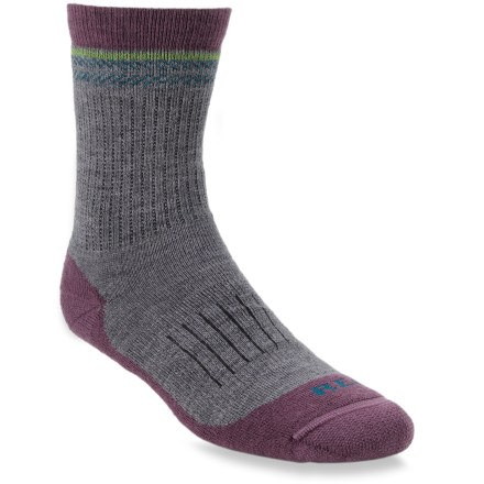 Camp and Hike The REI Merino Light Hiker women's crew socks regulate heat and moisture, and are a durable, versatile choice for the trail or everyday wear. Merino wool placed next to the skin is soft, breathable and warm, but not hot. Stretch nylon provides durability; elastic yarns boost comfort and improve fit. Reinforced heels and toes enhance durability. Arch support band snugs the fit. Seamless toe closures prevent chafing. *Discount will be applied when you check out. Offer not valid for sale-price items ending in $._3 or $._9. - $8.93