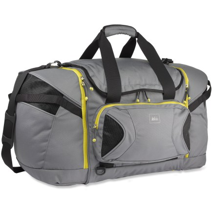 Camp and Hike Our tough and travel-friendly REI Evaporator Ski Duffel carries ski boots, layers, goggles, gloves and more. - $46.93