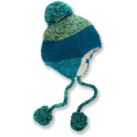Entertainment Tromp down a snowy sidewalk in style with the REI Marled Super Pom Peruvian hat. Colorful acrylic exterior has an attractive look, and it is lined with high-loft polyester fleece for great warmth. Large pom on top and poms on the tassels add style to the REI Marled Super Pom Peruvian hat. - $19.93