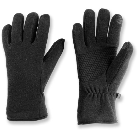 Fitness Operate your touch-screen cell phone while you're walking the dog or taking a break from cross-country skiing with the REI Tech-Compatible Oslo Grip gloves. Warm polyester/wool blend wicks perspiration and dries fast. Tech-compatible forefinger and thumb threads allow you to operate touch-screen devices without taking the gloves off. Synthetic leather palms are durable and grip well, even in wet conditions. REI Tech-Compatible Oslo Grip gloves have elastic at the wrists that fits comfortably and seals out cold air. - $17.83