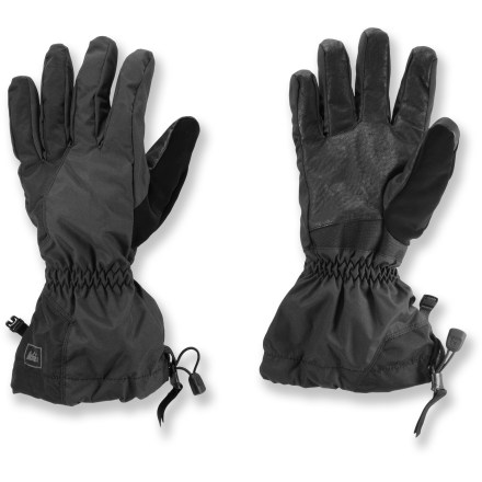 Fitness The REI Spring gloves shed moisture to keep your hands warm and dry while you're backcountry skiing and snowshoeing. REI Elements(R) waterproof, breathable inserts keep moisture from getting inside. Polyester tricot lining provides light insulation and helps wick moisture to keep hands warm and dry during spring ski tours and hikes in cool weather. Long gauntlets cover your wrists to keep cool air and snow out; gauntlet closures are easily adjusted with 1 hand. REI Spring gloves have pigskin palms that provide a good grip of ski poles and other equipment. - $23.83