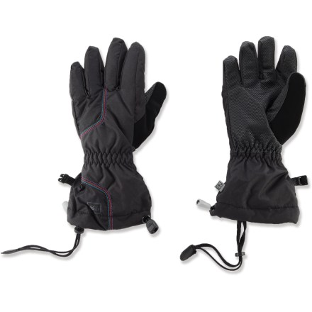 Ski The REI Timber Mountain gloves for girls help keep hands toasty warm and protected from wind and water with waterproof and breathable performance. Gloves have rugged nylon shells and waterproof/breathable inserts that are windproof to 60 mph. Polyester insulation adds warmth without bulkiness; fuzzy linings add comfort and wick moisture away from the hands. Grippy, reinforced palms are stretchy and durable; thumbs sport a soft nose-wipe panel. Gauntlets extend coverage; 1-handed closures cinch and uncinch with ease. - $16.83