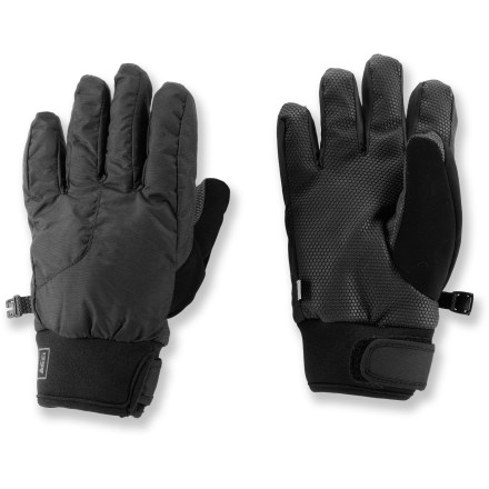 Ski The REI Timber Mountain Undercuff ski gloves keep kids' hands toasty warm and protect them from wind and water. Flexible and stretchy nylon/neoprene shells allow full range of motion; reinforced tactile grip on palms provides extra abrasion- and water-resistance. Inserts are waterproof, yet breathe well to help keep hands warm and dry. Polyester insulation adds warmth without a lot of bulkiness. Polyester linings wick moisture away from hands so they don't get clammy during high-energy fun in the snow. Stretchy neoprene undercuffs with rip-and-stick closures help seal out snow and cold while trapping heat inside. - $23.93
