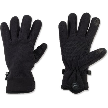 Camp and Hike The women's REI Tech-Compatible Thermo gloves will keep the winter chill from nipping at your fingertips while you walk around town with your smartphone in hand. Polartec(R) Wind Pro(R) polyester fleece provides 4 times more wind resistance than traditional fleece; continues to insulate when damp. Conductive material at the tips of the thumbs and index fingers allows you to send text messages and operate your touch-screen phone without having to take your gloves off. REI Tech-Compatible Thermo gloves include grippy synthetic leather palms for handling equipment. Non-bulky fabric preserves dexterity. - $18.83