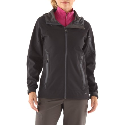 Ideal for mixed-weather, aerobic use, the REI Centre Peak women's jacket is a highly breathable, water-resistant soft shell perfect to wear when autumn hikes turn cool and damp. Breathable Polartec(R) Power Shield(R) Pro resists rain and blocks winds to 55 mph; a Durable Water Repellent finish helps the garment shed moisture. Brushed interior wicks moisture and retains warmth. 4-way-stretch fabric and articulated sleeves enhance comfortable movement. Full-length front zipper features an interior stormflap and chin guard. 1-hand-adjustable hem drawcord and adjustable cuffs seal in warmth. Zipper garages on hand and chest pockets deflect rain and keep zipper heads locked down; arm pocket sports a cord port. The REI Centre Peak jacket has an active fit that provides a full range of motion. - $138.93