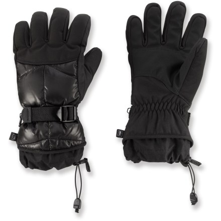 Cold fingers are no fun at all! Keep your hands warm and comfortable during the winter months with the REI Down gloves. Insulated with 650-fill goose down and ThermaDry polyester fibers for excellent warmth. Waterproof, windproof polyurethane inserts are built into the gloves to keep moisture out and protect the down insulation. Polyester fabric shells shed snow and stand up to regular wear. Polyester microfleece linings wick moisture off your skin, keeping your hands dry and comfortable. Polyurethane palms provide sure grip; polyurethane grip on the fingers and thumbs improves dexterity. Webbing-and-buckle fastening system at the wrists secures fit. REI Down gloves have easy-to-cinch gauntlet cuffs that keep snow out and warmth in. - $40.93