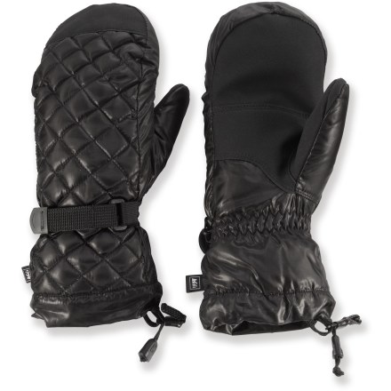 Keep your hands warm and dry on winter adventures in these REI Down mittens. They feature polyester shells, waterproof and windproof inserts, and goose down insulation. Polyester shells are flexible yet durable; polyurethane palm and thumb reinforcements increase abrasion resistance and improve grip. Waterproof, windproof polyurethane inserts are built into the mittens to keep moisture out and protect the down insulation. Insulated with 650-fill goose down and ThermaDry polyester fibers for excellent warmth. Polyester microfleece linings wick moisture away from hands so they don't get clammy during high-energy fun in the snow. Webbing-and-buckle fastening systems at the wrists secure the fit. REI Down mittens have easy-to-cinch gauntlet cuffs that keep snow out and warmth in. - $37.93