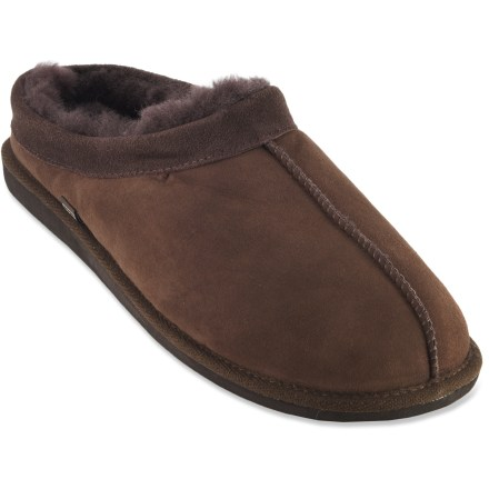 Entertainment Treat your feet with our REI Cabin Scuff slippers. Cozy sheepskin leather and wool keep your feet comfortable when cold weather keeps you in. Luxurious and warm double-face sheepskin leather uppers provide the ultimate in barefoot comfort for leisurely padding around. Sheepskin wool linings offer a warm interior to keep your feet cozy on cold mornings. Contoured memory foam footbeds are topped with cozy sheepskin wool for light, plush cushioning underfoot. EVA midsoles offer pillowy soft cushioning. Our REI Cabin Scuff slippers feature thermoplastic rubber soles, which reduce cold transfer from the ground and provide nonslip traction for indoor use. - $48.93