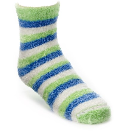 The REI Comfy Stripe socks are soft and stretchy to keep little feet warm and comfortable. Microfiber nylon and polyester fleece are blended with a touch of spandex for ample stretch, durability and comfort. Flat toe seams keep REI Comfy Stripe socks smooth and nonirritating. Closeout. - $2.83