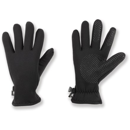 Ski The REI Polartec(R) Power Stretch(R) Grip gloves keep hands warm during active pursuits. Polartec Power Stretch features a moisture-wicking velour fleece inner face and a smooth outer face that sheds light rain and wind. Silicone grid grip on the palm, thumb, index finger and middle finger delivers a secure hold. Special buy. - $12.83