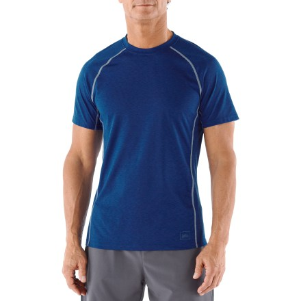 The REI Lightweight Polartec Power Dry crew shirt performs well as a base layer underneath other insulating layers or on its own when wearing it in warmer temperatures. - $13.83