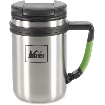Camp and Hike Clip the REI Vacuum Clip mug to your backpack and you're ready for an outdoor adventure accompanied by your favorite hot beverage. Double-wall, stainless-steel mug keeps 14 fl. oz. of liquid hot or cold. Attach the mug to a backpack strap with the clip handle. Screw-on lid with push-down stopper limits spills. Non-skid pad on the bottom keeps the mug from sliding away. REI Vacuum Clip mug has a stainless-steel body and liner that clean up easily. - $15.93