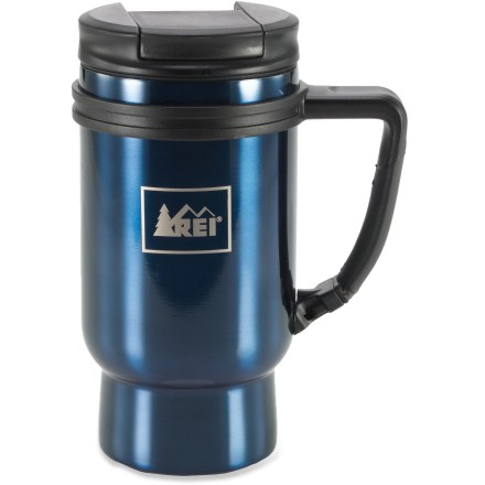 Camp and Hike With a clip handle and a shape that fits in your car or camp chair drink holder, the REI Vacuum Clip mug is easy to take along on every adventure. Double-wall, stainless-steel mug keeps 16 fl. oz. of your favorite beverage hot or cold. Clip handle lets you attach the mug to a backpack strap. Screw-on lid with push-down stopper limits spills. Non-skid pad on the bottom keeps the mug from sliding away. REI Vacuum Clip mug has a stainless-steel body and liner that clean up easily. - $17.93