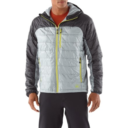 Entertainment The REI Revelcloud Hoodie jacket stuffs easily into your backpack and provides lightweight warmth during cold, dry days on the trail, or layer it under a shell on rainy days for ultimate protection. - $78.83
