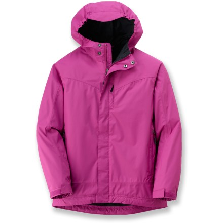 The REI Lloro rain jacket offers comfort and reliable weather protection for a girl's rain-filled adventures. Polyester shell and nylon contrasting panels have REI Elements(R) polyurethane coating and factory-sealed seams to ensure waterproofness. Water-resistant zipper with full-length zipper guard helps seal out the elements. 3-panel hood with brim features elastic at sides and a rip-and-stick tab on back to adjust volume. Cuffs with rip-and-stick tabs adjust the fit and seal out rain; droptail hem with internal drawcord extends coverage in back. Features zippered hand pockets, chest pocket and internal mesh pocket with media port. Special buy. - $27.73