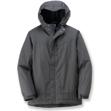 The REI Lloro rain jacket offers technical protection from sudden downpours. Polyester shell and nylon contrasting panels have REI Elements(R) polyurethane coating and factory-sealed seams to ensure waterproofness. Water-resistant zipper with full-length zipper guard helps seal out the elements. 3-panel hood with brim features elastic at sides and a rip-and-stick tab on back to adjust volume. Cuffs with rip-and-stick tabs adjust the fit and seal out rain; droptail hem with internal drawcord offers extra coverage in back. Features zippered hand pockets, chest pocket and internal mesh pocket with media port. Special buy. - $35.73