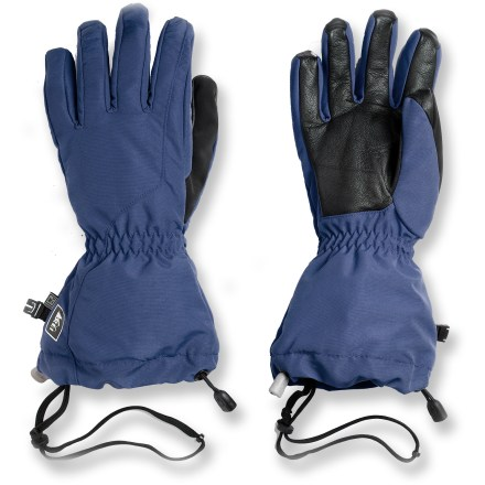 Ski Keep your hands dry and comfortable during the winter months with the REI Lightweight Waterproof gloves. REI Elements(R) inserts add waterproof, windproof qualities to the tough nylon shells. Insulated with quality polyester fibers for excellent warmth. Polyester linings wick moisture off your skin, keeping your hands dry and comfortable. Goatskin leather palms provide sure grip; goatskin leather grip on the fingers and thumbs improves dexterity. Special buy. - $17.83