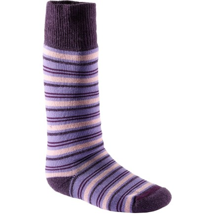 The REI Hudson Stripe Wintersport socks for toddlers keep little toes warm. Blend of merino wool, recycled polyester and nylon provides optimum insulation and moisture management to keep kids' feet warm and dry. A touch of spandex holds socks in place and offers formfitting comfort. Chafe-free toe seams and medium-weight cushioning in the sole, calf and shin enhance comfort. Closeout. - $6.93