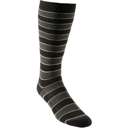 The REI Dragon Stripe Winter Sport socks for boys offer snowbound kids warmth and comfort. Blend of merino wool, recycled polyester and nylon provides optimum insulation and moisture management to keep kids' feet warm and dry. A touch of spandex holds sock in place and offers formfitting comfort. Chafe-free toe seams and medium-weight cushioning in the sole, calf and shin enhance comfort. Closeout. - $1.73