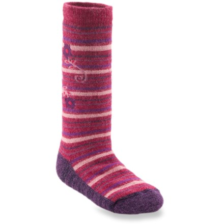 Ski The REI Floral Stripe ski socks for toddlers offer your youngster warmth and cushioning for happy times in the snow. Blend of baby alpaca, nylon and viscose from bamboo provides optimum insulation and moisture management to keep kids' feet warm and dry. A touch of spandex holds socks in place and offers formfitting comfort. Medium-weight cushioning in the sole enhances comfort. *Discount will be applied when you check out. Offer not valid for sale-price items ending in $._3 or $._9. - $6.93