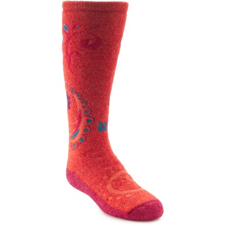 Ski The girls' REI Paisley Luck ski socks offer your youngster warmth and cushioning for happy times in the snow. Blend of baby alpaca, nylon and viscose from bamboo provides optimum insulation and moisture management to keep kids' feet warm and dry. A touch of spandex holds socks in place and offers formfitting comfort. Medium-weight cushioning in the sole enhances comfort. *Discount will be applied when you check out. Offer not valid for sale-price items ending in $._3 or $._9. - $8.93