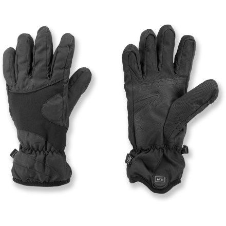 Ski For winter walks and chilly morning activities, REI Tahoma winter gloves for women will get you through the cold season in warmth and comfort. Polyester shells resist snow, rain and wind, yet breathe well to keep hands comfortable. Precurved construction follows the relaxed lie of the hand for a natural fit with reduced bulk and great comfort. Lightweight, non-bulky polyester fiber insulation delivers great warmth, expels moisture and enhances dexterity. Soft polyester fleece linings feel great next to skin. REI Tahoma gloves have synthetic leather palms for gripping ski poles and other gear. - $29.50