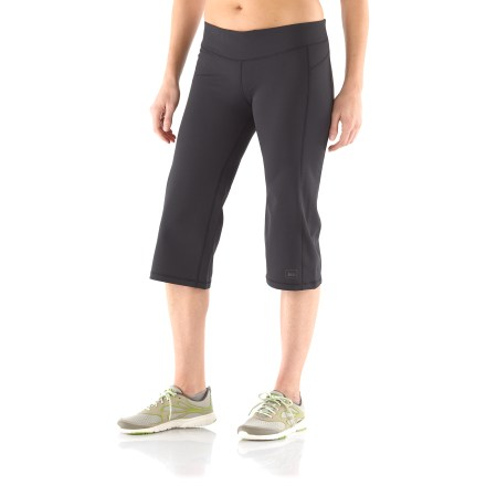 Fitness Whether you're at the gym or out on the trail, the women's REI Sport Capri pants offer comfortable support. Active fit with 4-way stretch is great for cool-weather outdoor training, trail running and hiking, as well as indoor pursuits. Polyester and spandex fabric wicks moisture and helps protect skin from harmful UV light with a UPF 50+ rating. Breathable elastic waistband offers an extremely comfortable fit. Small drop-in pocket stores accessories on left hip, away from core training or stretching should you need to lie on your back. You'll go farther without discomfort thanks to flat seams which are placed to work with your stride. Front and rear princess seams offer a feminine look. Reflective logo on the women's REI Sport Capri pants increases visibility in dim light. - $20.83