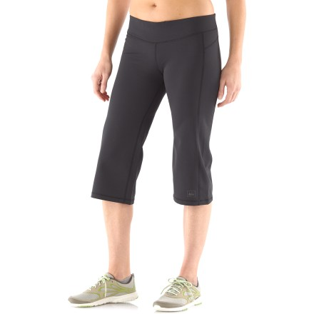 Fitness Whether you're at the gym or out on the trail, the women's plus-size REI Sport Capri pants offer comfortable support. Active fit with 4-way stretch is great for cool-weather outdoor training, trail running and hiking, as well as indoor pursuits. Polyester and spandex fabric wicks moisture and helps protect skin from harmful UV light with a UPF 50+ rating. Breathable elastic waistband offers an extremely comfortable fit. Small drop-in pocket stores accessories on left hip, away from core training or stretching should you need to lie on your back. You'll go farther without discomfort thanks to flat seams which are placed to work with your stride. Front and rear princess seams offer a feminine look. Reflective logo on the women's plus-size REI Sport Capri pants increases visibility in dim light. - $28.99
