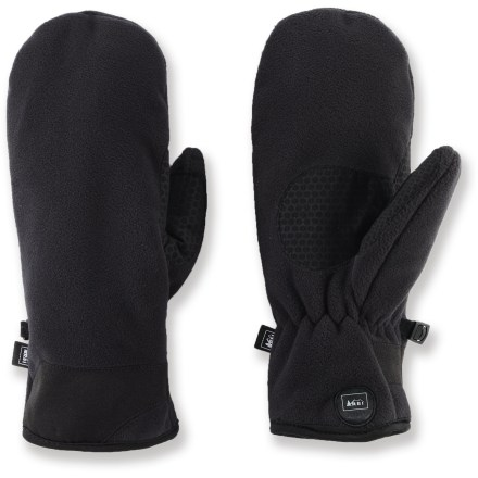 Cold fingers can ruin an otherwise enjoyable winter adventure. Pull on the warm REI Thermo mittens and get out there. Polartec(R) Wind Pro(R) polyester fleece provides 4 times more wind resistance than traditional fleece; plus, it continues to insulate even when damp. REI Thermo mittens include grippy synthetic leather palms for handling equipment. Non-bulky fabric preserves dexterity. - $26.93