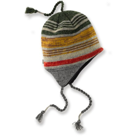 Entertainment The REI Stripe Peruvian hat keeps you warm and toasty when walking in a winter wonderland or strolling down an autumn sidewalk. Colorful knit acrylic fabric provides insulation and warmth without being itchy or uncomfortable. Soft microfleece lining feels comfortable against your skin and enhances insulation. Earflaps can be tied snugly under your chin with the braided tassels. - $14.93