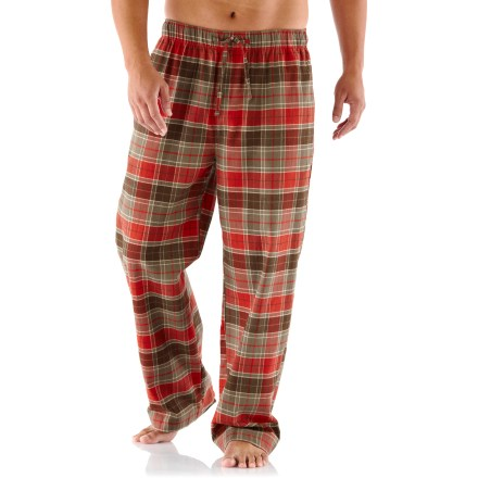 Enjoy a lazy weekend morning in the soft and comfortable REI Cabin Lounger flannel pants. Organic cotton flannel has a soft hand for great comfort. On-seam hand pockets and a rear patch pocket stow items while you're lounging around the house. The REI Cabin Lounger pants have a relaxed fit; include an elastic waist and drawstring. - $23.93