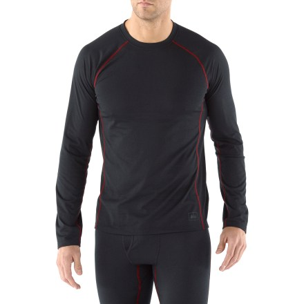 The REI Lightweight Polartec Power Dry long-sleeve crew shirt for tall men performs well as a base layer underneath other insulating layers or on its own in warmer weather. - $16.83
