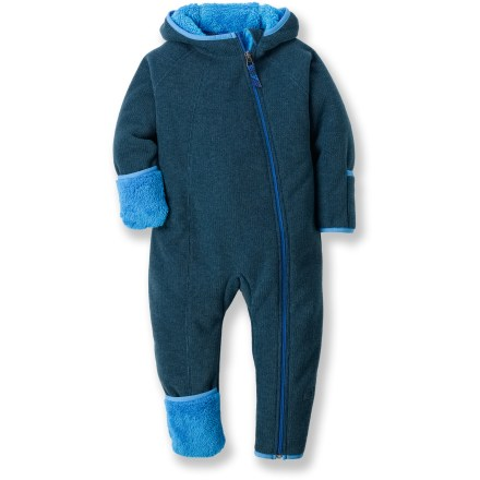 Hunting The heavyweight fleece REI Bear Hug fleece infant suit swaddles tiny snow fans in adorable warmth. Plush, polyester fleece is soft and comfortable, dries quickly and continues to insulate even when damp. Front zipper extends from chin down to foot for easy dressing; full-length zipper guard keeps zipper away from sensitive skin. Hood with elastic trim keeps child's head warm. Sleeve and leg cuffs fold over to protect little hands and feet; nylon/Lycra(R) spandex binding around cuffs seals in warmth. Gusseted crotch and 3-panel hood enhance the fit. . - $49.50
