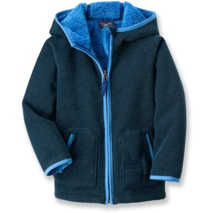 Hunting The REI Bear Hug fleece jacket employs our heaviest fleece for young outdoors folk. It's sure to keep your toddler warm during cold-weather outings. Thick, breathable fleece dries quickly and insulates even when damp. Chin guard, high collar and an elasticized, 3-panel hood minimize chill. Cozy hand pockets with tricot lining keep hands toasty warm. - $30.93