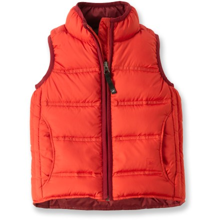 Ski The boys' REI down vest for toddlers offers warmth with recycled materials in a great-looking, lightweight design. Insulated with quality 550-fill-power goose down for warmth, light weight and compressibility; quilt stitching keeps down from shifting. Use of recycled PET polyester helps reduce oil consumption and air emissions. Handwarmer pockets are lined with soft tricot for added warmth. Back hem is dropped slightly for full coverage. Write-on internal ID label. - $23.83