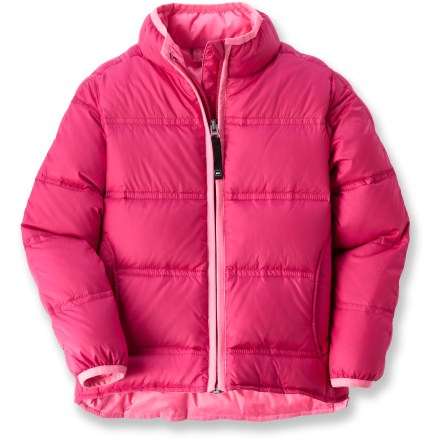Snowboard The toddlers' REI Down Jacket for is made with recycled PET polyester. It offers little girls warmth in a great-looking and lightweight design. Jacket is insulated with quality 550-fill-power goose down for warmth, light weight and compressibility; quilt stitching keeps down from shifting. Hand pockets warm little fingers; binding at cuffs helps keep warmth in and snow and moisture out. Zipper sports a full-length stormflap to block wind coming through; chin guard protects sensitive skin from abrasion. Back hem is dropped slightly for full coverage. - $40.93