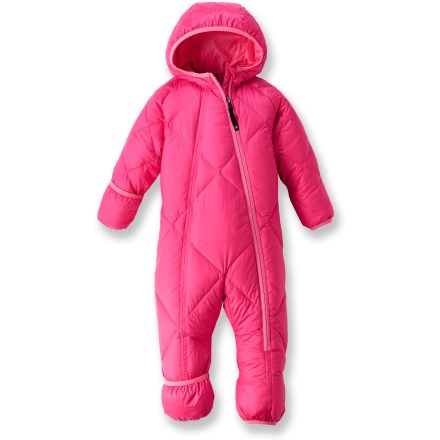 Ski The REI Down infant suit for girls will help keep young explorers warm from head to toe with goose down insulation and water-resistant recycled polyester. Recycled polyester shell and lining are made with recycled PET polyester; Durable Water Repellent finish resists water and chilly winds. Insulated with quality 550-fill-power goose down for warmth, light weight and compressibility. Elasticized, 3-panel hood offers a snug and comfortable fit. Sleeve and leg cuffs with spandex binding fold over to seal in warmth and protect little hands and feet from cold weather. Full-length zipper entry makes dressing, undressing and diaper changing easy. - $44.93