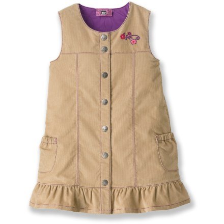 The REI Jump Along quilted jumper dress is perfect for active little ones who love to mix warmth with style. Blend of polyester, cotton and elastane offer comfort, easy care and durability. Quilted lining adds cozy warmth. Snap closures make it easy to get the dress on and off. - $17.83