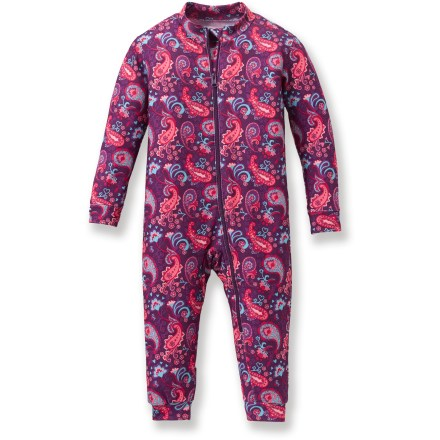 The REI Midweight MTS union suit for little girls is an excellent first layer for activities in cold weather. MTS(R) (Moisture Transport System) polyester with spandex is soft and stretchy for great comfort and fit; plus, it wicks moisture away from skin for comfort. Fabric provides UPF 50+ sun protection, shielding skin from harmful ultraviolet rays. Long front zipper runs diagonally for easy diaper changes. Features cuffed sleeves and legs; gusseted crotch creates a comfortable fit. - $6.83