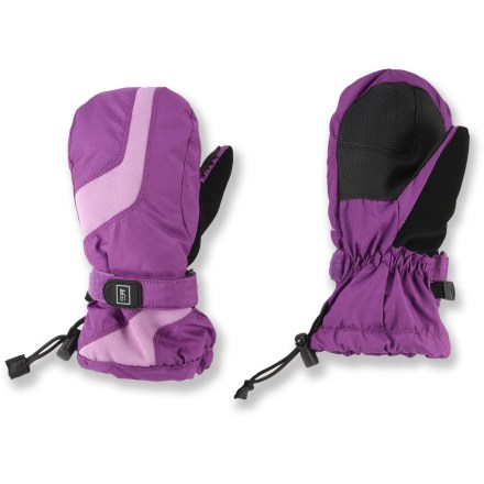 The waterproof and breathable REI Timber Mountain mittens help keep young girls' hands toasty warm and protected from wind and water. Rugged polyester shells and waterproof/breathable inserts are windproof to 60 mph. Polyester insulation adds warmth without bulkiness; fuzzy linings add comfort and wick moisture away from the hands. Grippy, reinforced palms are stretchy and durable; thumbs sport a soft nose wipe panel. Gauntlets extend coverage; 1-handed closures cinch and uncinch with ease. - $10.83