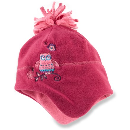 The adorable REI Fleece Peruvian hat extends down to protect young ears, offering plenty of warmth and fun styling for your little girl. Warm, breathable fleece fabric insulates even when wet and is easy to care for. Fleece lining adds insulation to help keep her warm in winter. - $10.93