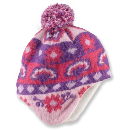 The toddlers' REI Fair Isle Peruvian hat keeps little girls' heads warm and toasty, whether they're walking in a winter wonderland or strolling down an leaf-covered sidewalk. Knit wool blend provides natural insulation and warmth without being itchy or uncomfortable. Soft microfleece lining feels comfortable against the skin and enhances insulation. - $11.83
