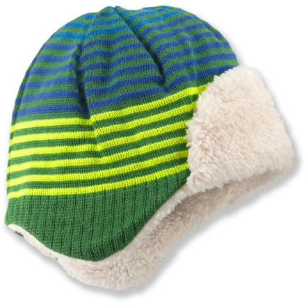 The REI Striped Knit Aviator hat helps keep babies' and toddlers' heads warm when the cold winter winds blow. - $3.83