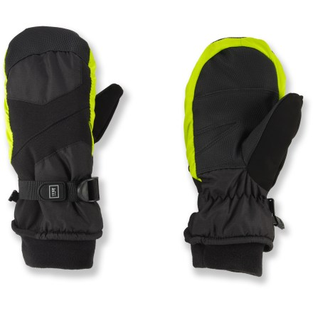 The REI Snow Ridge waterproof mittens for kids keep young hands warm and protect them from wind and water. - $29.50