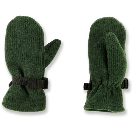 Hunting The REI Bear Hug fleece mittens are made of soft polyester fleece to keep toddlers' fingers warm during fall and winter outings. Cozy polyester fleece dries quickly and insulates even when wet. Elastic and cinch straps at wrists help seal in warmth. - $14.50