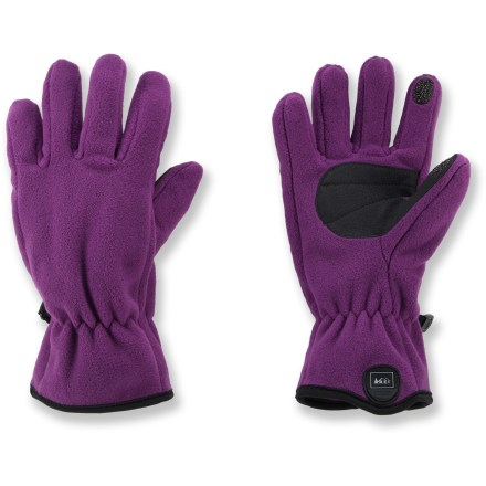 With conductive material on the thumbs and index fingers, the girls' REI Boulder Ridge Tech Compatible fleece gloves keep hands warm while letting them text and play games on touch-screen devices. Compacted fabric structure provides water repellency and increased wind resistance while maintaining breathability and quick-dry properties. Fleece shell fabric offers warmth and breathability. Conductive material at the tips of the thumbs and index fingers allows you to send text messages and operate your touch-screen phone without having to take your gloves off. Grippy polyurethane palms improve handling in wet conditions. - $9.93