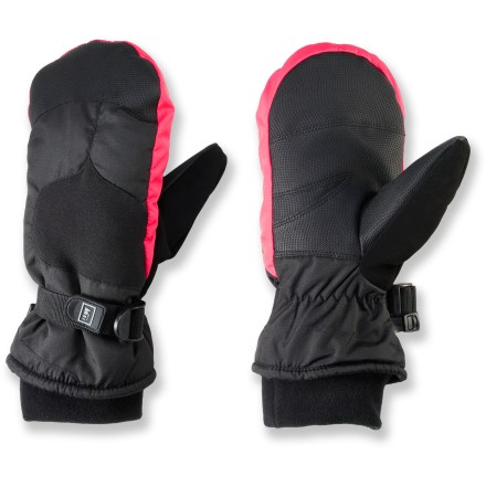 The REI Snow Ridge waterproof mittens for kids keep young hands warm and protect them from wind and water. - $6.83