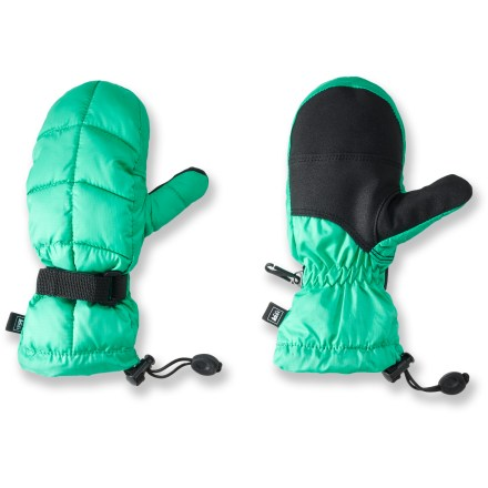 The REI down mittens will keep your girl's hands warm and dry. They feature recycled polyester shells, waterproof inserts and goose down insulation. Recycled polyester shells are flexible yet durable; grippy palm and thumb reinforcements increase abrasion resistance. Use of recycled PET polyester helps reduce oil consumption and air emissions. Inserts are waterproof, yet breathe well to keep small hands warm and dry. REI Down mittens are insulated with high-quality goose down for warmth, light weight and compressibility. Microfleece linings wick moisture away from hands so they don't get clammy during high-energy fun in the snow. Webbing-and-buckle fastening system at the wrists secures the fit; easy-to-cinch gauntlet cuffs keep snow out and warmth in. - $16.83