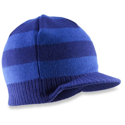 Entertainment The REI Knit Visor beanie accents a boy's winter wardrobe with smart style and reliable warmth. Soft acrylic insulates even when wet, but unlike wool, it doesn't itch, and it dries quickly when damp. - $7.83