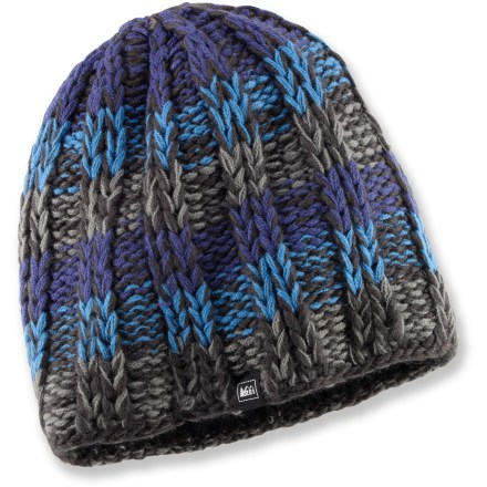 The REI Chunky Knit beanie for boys has thick acrylic yarn for a distinctive look that he'll love. Acrylic yarn sheds moisture and dries quickly; partial polyester microfleece lining enhances warmth. - $6.83